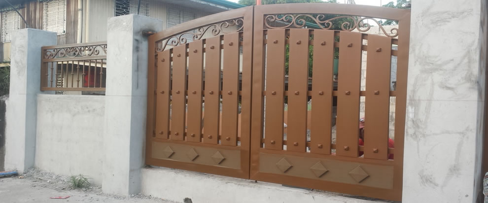 Wrought Iron Gate In Wood Finish Glass Railings