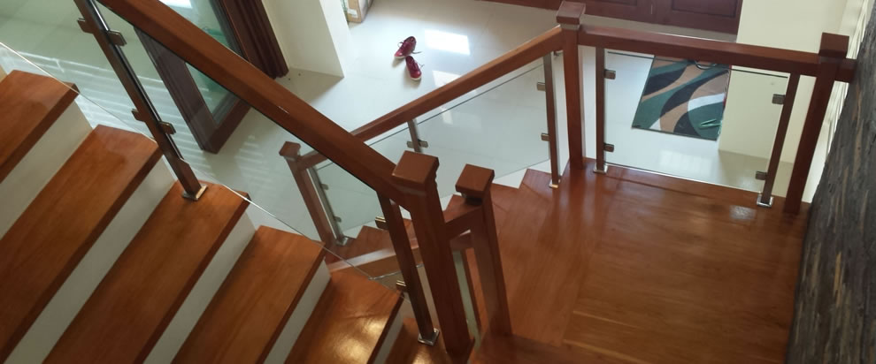 Glass Stair Railing With Wood Frames Philippines